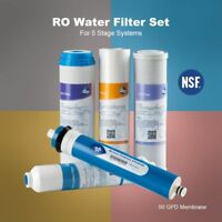 5 Stage Reverse Osmosis System Replacement Filter Set RO Cartridges Common Sized