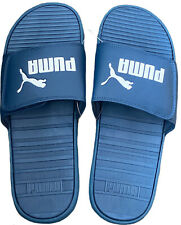 PUMA COOL CAT V SLIDES SANDALS VELCO BLUE WHITE LOGO MENS SIZE 12