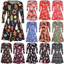 Womens Christmas Theme Mini Shirt Dress Ladies Party Xmas Swing Skater Dresses