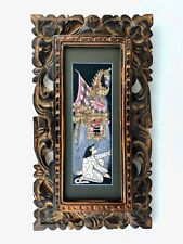 More details for vintage - traditional bali barong signed watercolour in carved wood frame