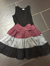 NEXT GIRLS PURPLE GREY BLACK BOW PARTY DRESS 10 YEARS