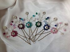 PRETTY CRYSTAL & DIAMANTE HAIR PINS MADE WITH SWAROVSKI ELEMENTS PICK YOUR COLOR