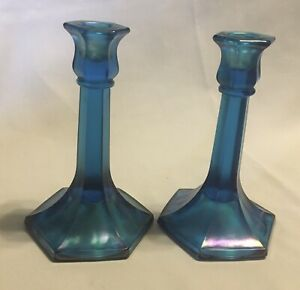 Pair Vintage NORTHWOOD SAPPHIRE BLUE Florentine Stretch Glass Candlesticks  657