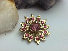VTG Mid-Century Pink Rhinestone Flower Floral Small Gold Tone Clip Pin Brooch
