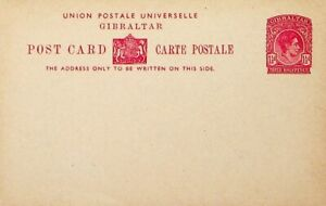 GIBRALTAR 1.5d KGVI UPU UNUSED POSTAL STATIONERY CARD