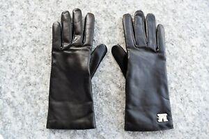 MAX MARA, Spalato 100% LEATHER Gloves in Black , Size 7,5 (M)