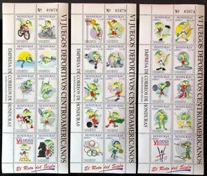 Honduras #C1016-18 3 Sheets of 10 1997 MNH
