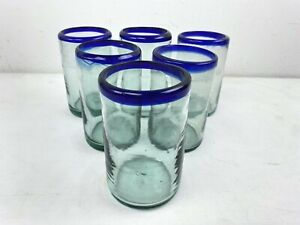 Mexican Hand Blown Glassware Set Of 6 Tumblers 16 oz Blue Azul Rim Mexico  B1