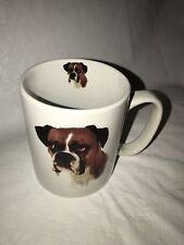 Dog Boxer Ceramic White Ceramic Coffee Tea Mug bowwowmeows.com EUC Puppy