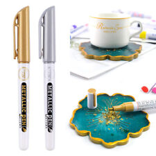 6Pcs Gold Silver Epoxy Resin Drawing Pen Gold Leafing Point Pen MarkerM! FH