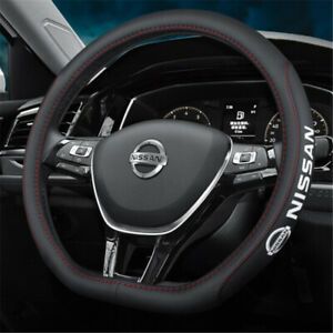 """15"""" Car Steering Wheel Cover Genuine Leather For Nissan New"""