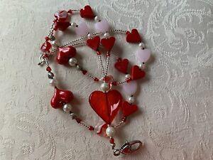 "NEW Never Worn HEARTS HEARTS HEARTS Valentine Lanyard 37"""