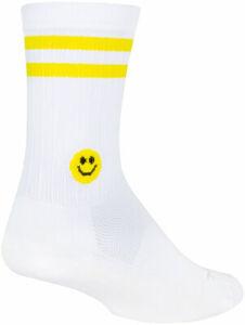 SockGuy SGX Smiley Socks   6 inch   White/Yellow   L/XL