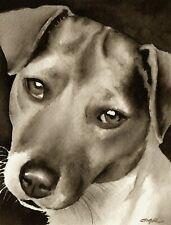 Jack Russell Terrier Art Print Sepia Watercolor Painting by Artist Djr