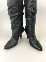 Barratts Black Leather Knee High Pull On Heeled Brogues Boots Size 38 UK5 US7