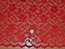 SCALLOPED STRETCH FLORAL LACE-RED-DRESS/BRIDAL FABRIC-FREE P&P