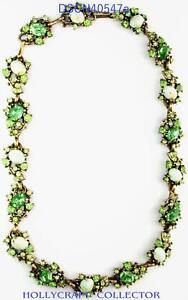 40547a - Hollycraft 1951 Peridot Green Stones & Opal Cabochons Dog Collar/Choker