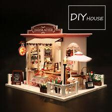 Doll House Wooden Dollhouse Miniature Assembling 3D Puzzle Toy DIY Kit LED Light