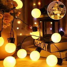 6m LED Strom Lichterkette Glühbirnen Außen Garten String Licht Birnen Party Deko