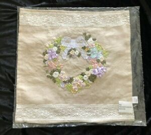 Lace Appliqued & 3D Ribbon Embro Heart Wreath Pillow Cover Case, Natural $22.99