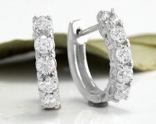 1.25Ct Natural Diamond 14K Solid White Gold Hoop Earrings
