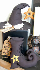 PRIMITIVE FOLK ART HALLOWEEN SEWING PATTERN 'HOCUS POCUS'  WITCHES BOOTS & HAT