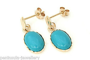 9ct Gold Turquoise oval Drop earrings Made in UK Gift Boxed