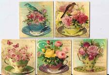 "10 vintage altered art Tea cup roses 2"" cards with envelopes organza bag"