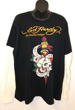 ED HARDY CHRISTIAN AUDIGIER Black Long Sleeve SHIRT Skull Yellow Do Designs
