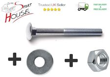 M6 / 6mm CARRIAGE BOLTS WITH NUTS & WASHERS CUP SQUARE COACH SCREWS ZINC PLATED