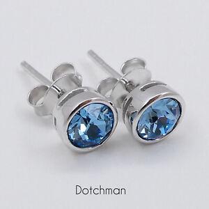 925 Sterling Silver Stud Earrings With Aquamarine Swarovski Crystal