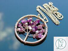 Hecho a mano Amatista Árbol De La Vida Colgante Collar 55cm chakra de piedras preciosas naturales