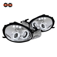 For 00-02 Dodge Neon Dual Halo Projector Headlights LED Chrome Housing Clear DRL