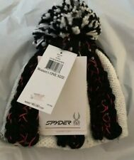 NWT $40 Spyder Womens Mosaic Knitted Beanie White Black One Pink Pom Hat Ski Cap