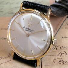 Mens 1960s Jules Jurgensen 18K SOLID GOLD Hermetic Case 17j Vintage Swiss Watch