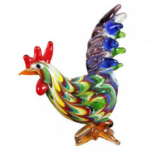 "Fitz & Floyd Colorful Art Glass 3.5"" Rooster Hen Rainbow Menagerie Bird Chicken"