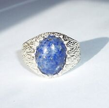 Very Nice Denim Lapis Lazuli 16x12mm Cab USA Made Heavy Sterling Ring sz 11.5