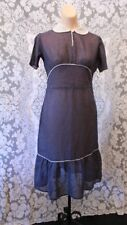 Vintage 30s 40s Semi Shear Navy Blue Dress White Swiss Dot with Key Hole Neck