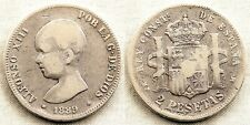 España-Alfonso XIII. 2 Pesetas. 1889**-89. Madrid. MBC-/VF-. plata 9,8 g. ESCASA