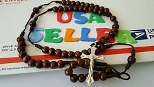 Cross necklace 18 INCH OLIVE WOOD  Rosary PRAYER Beads  BETHLEHEM NEW