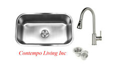 "30"" Stainless Steel Single Bowl 18 Gauge Undermount 10"" Deep Kitchen Sink Faucet"