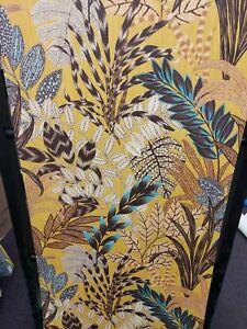 Nala, Yellow, Brown, Teal Leaves Textured Wallpaper