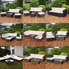 Polyrattan Sitzmöbel Schwarz Sitzgruppe Sofa Lounge Gartenset Rattanmöbel Möbel