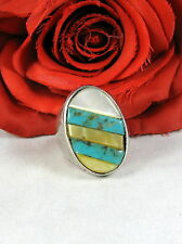 Sterling Silver South West Turquoise & Mop 24g Ring Size 11.5 Feral Cat Rescue
