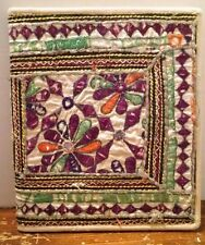 "Recycled India Notebook Scrapbook Flowers paper cloth Artisan 11"" x 12.75"""