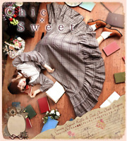 Lolita Plaid Dress Mori Girl Classical Expansion Skirt Long Sleeve One Piece New
