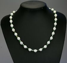 """White opaque jade stone bead necklace, green AB glass crystals 19.5"""" +2"""