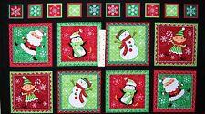 "24"" Christmas Fabric Panel - Holly Jollies Elf Santa Block - Quilting Treasures"
