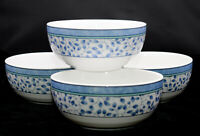 Mikasa Susanne  4 CEREAL BOWLS  Blue Leaves, Coupe Style, EXC!