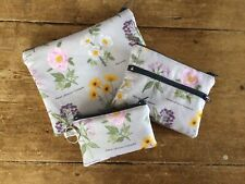 Handmade Make Up Bag , Coin Purse & Keyring Purse Floral Botanical Fabric